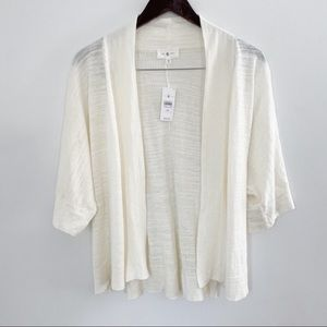 NWT Lou & Grey White Linen open front Cardigan